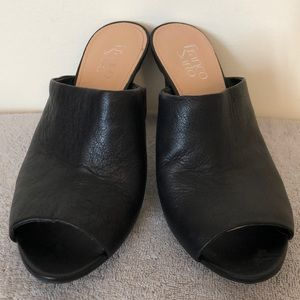 Franco Sarto size 10 leather mules 4 inch heel